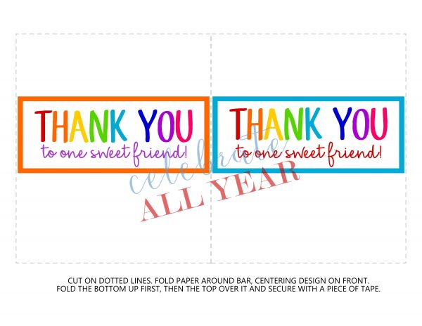 Thank you gifts, printable candy bar wrappers