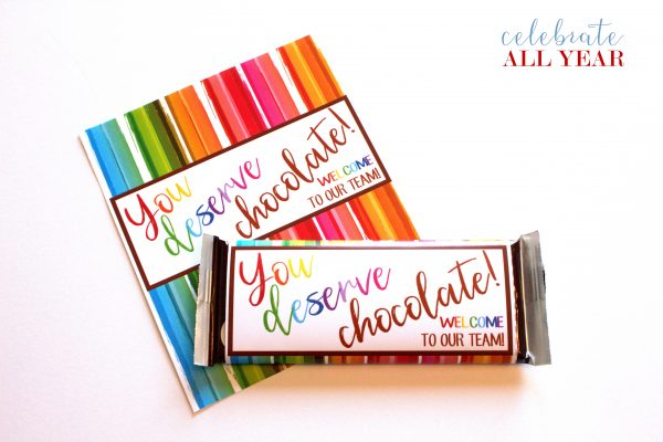 Printable Candy Bar Wrappers, chocolate gifts, new staff