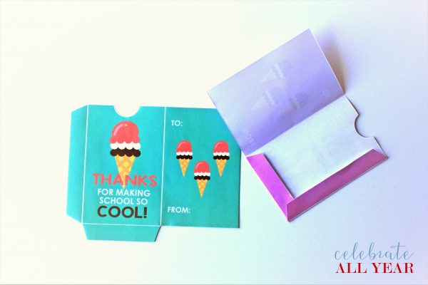 teacher appreciation gift card holder ice cream