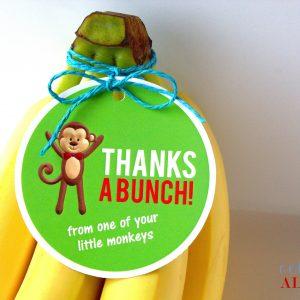 teacher appreciation monkey themed gift tags for bananas