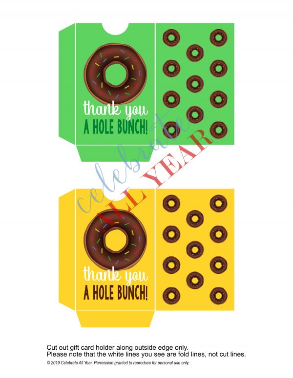 gift card holder donuts hole bunch