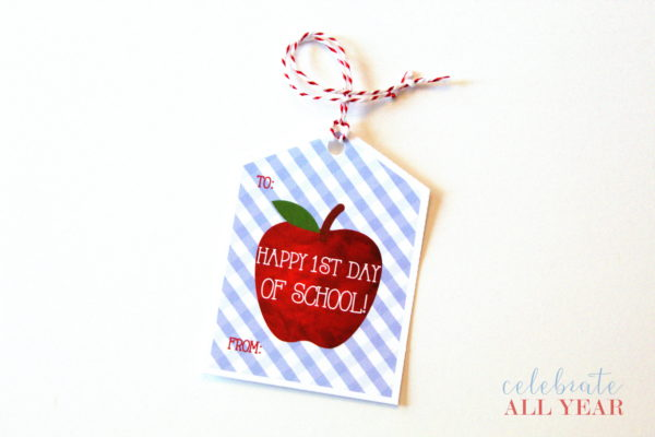 printable apple back to school tags