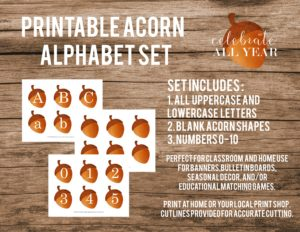 printable acorn letters and numbers