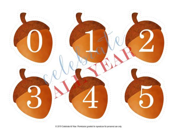 printable acorn numbers