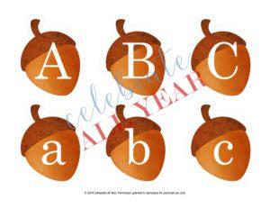 printable acorn letters