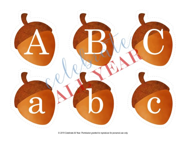 printable acorn letters