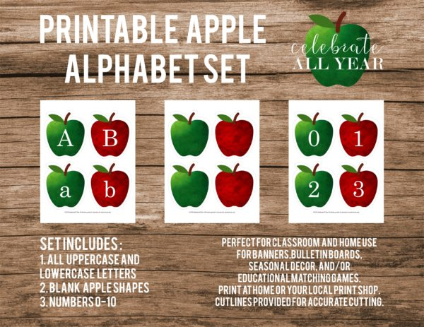 printable apple letters and numbers