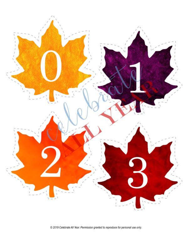 printable fall leaves numbers