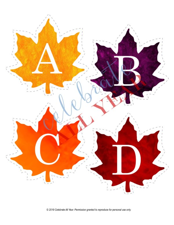 printable fall leaves alphabet uppercase