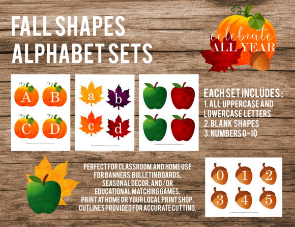 fall shapes letters and numbers