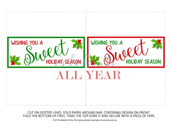 sweet holiday season candy bar wrappers plain