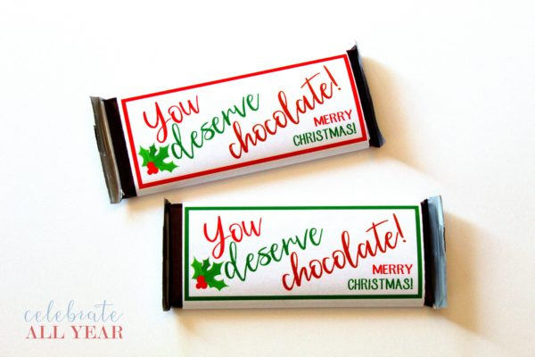 You Deserve Chocolate for Christmas Candy Bar Wrappers