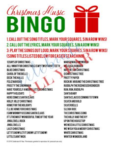 Christmas Music Bingo