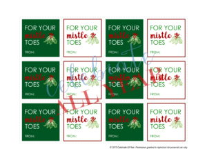 mistle toes gift tags