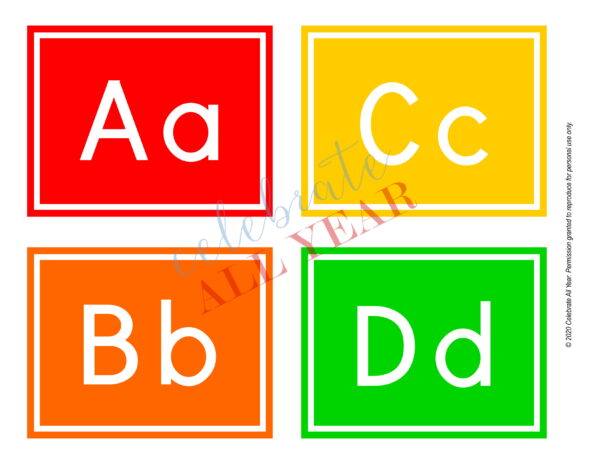 alphabet flash cards classroom letters
